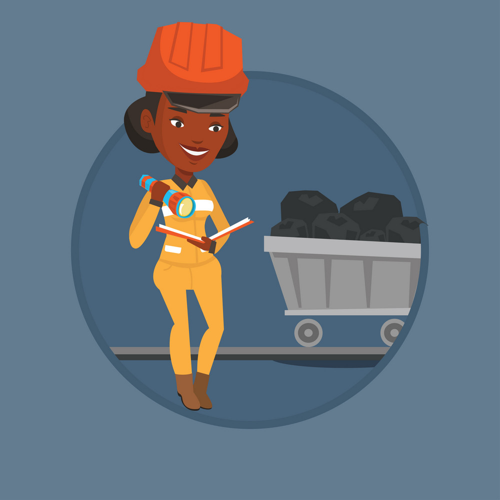 Miner checking documents with the flashlight on the background of trolley with coal. Mine worker in hard hat. Miner in the coal mine. Vector flat design illustration in circle isolated on background.