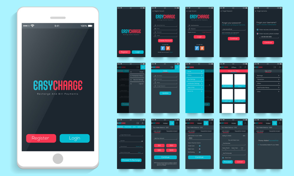 Mobile User Interface layout with different creative screens