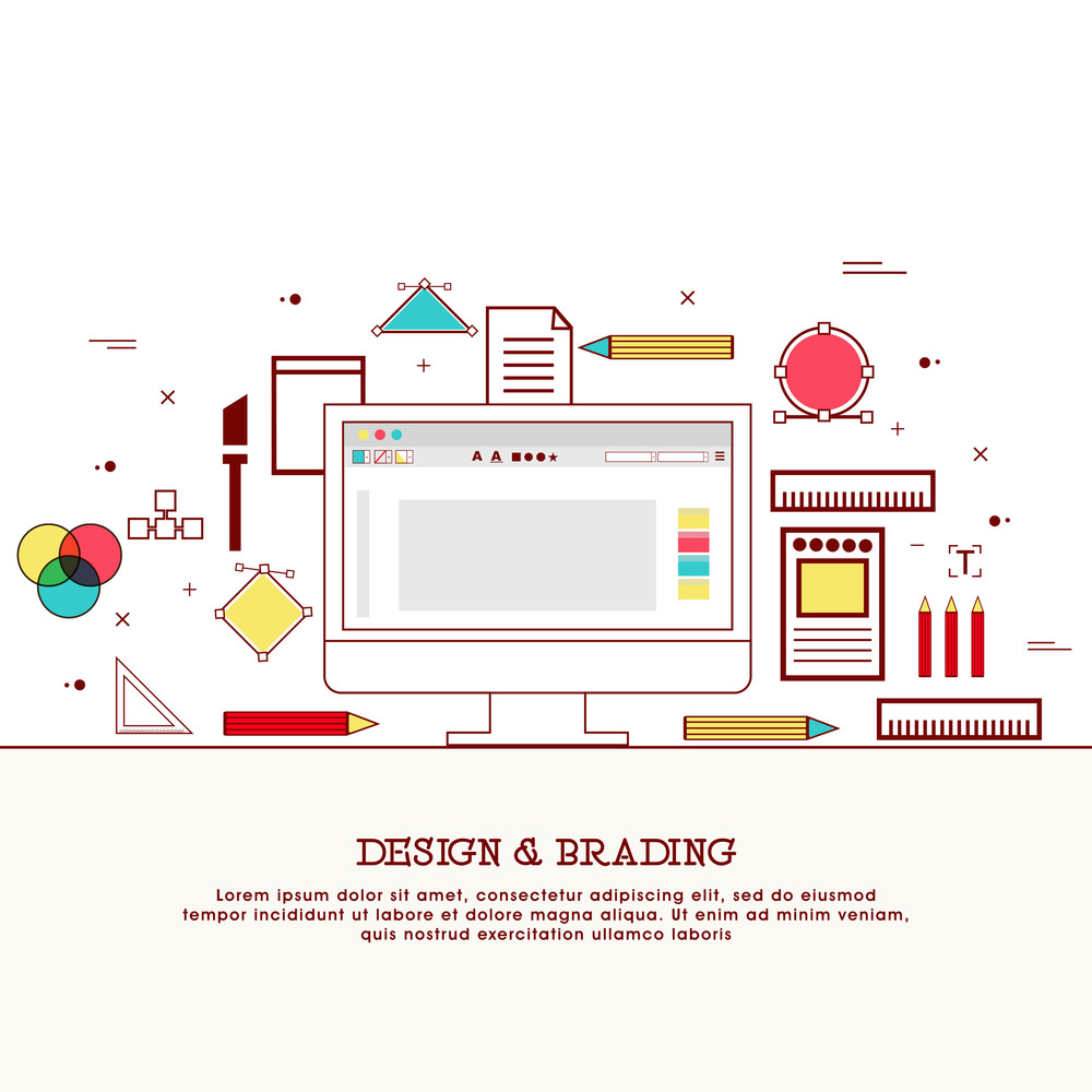Modern flat style illustration of Design Studio, Designer Workplace, Office Desk with various objects.Hero Image concept, Website Elements layout.
