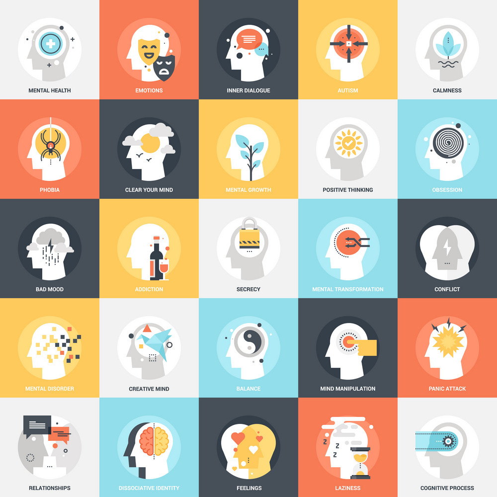 Modern flat vector illustration of human psychology icon design concept. Icon for mobile and web graphics. Flat symbol