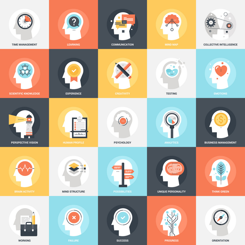 Modern flat vector illustration of thinking and brain activity icon design concept. Icon for mobile and web graphics. Flat symbol