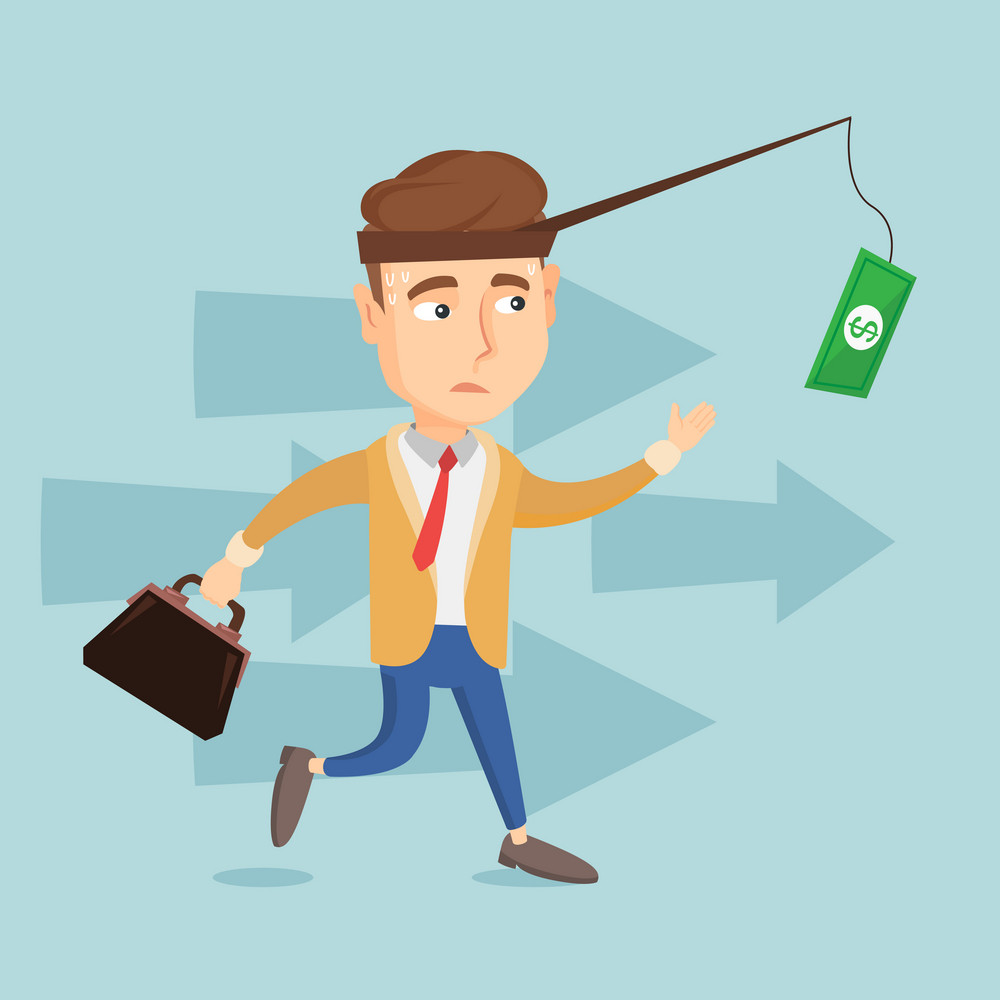 Money on fishing rod as motivation for business man. Caucasian business man motivated by money hanging on fishing rod. Concept of business motivation. Vector flat design illustration. Square layout.