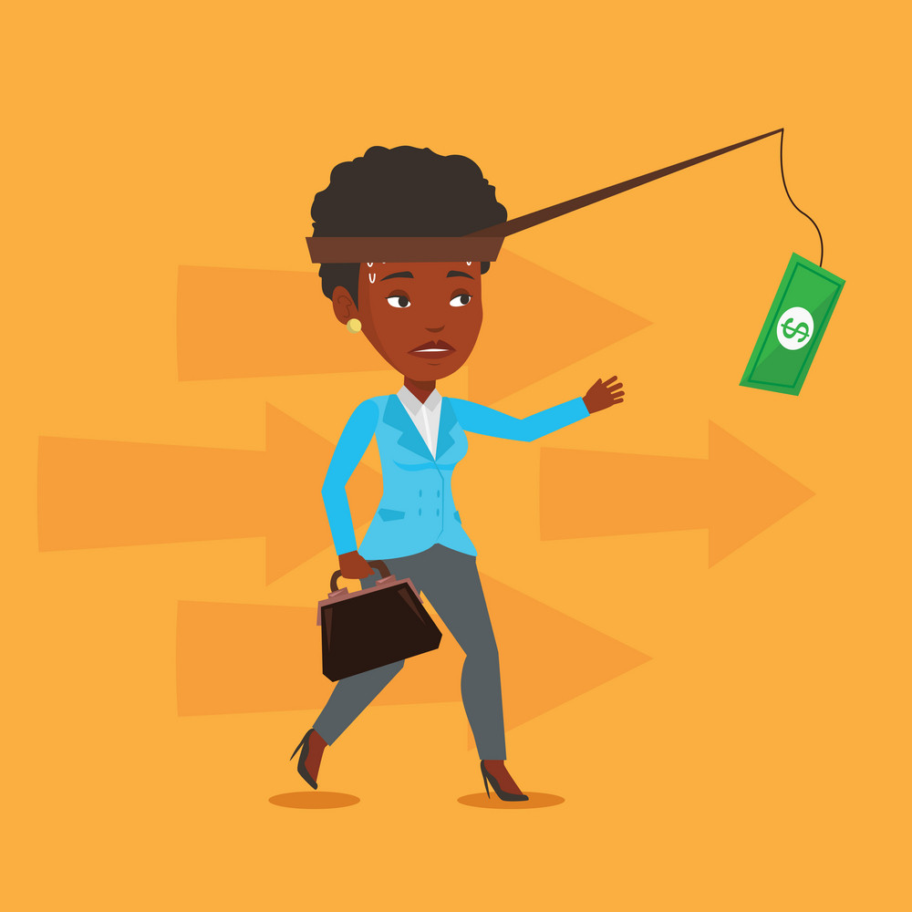 Money on fishing rod as motivation for business woman. African business woman motivated by money hanging on fishing rod. Concept of business motivation. Vector flat design illustration. Square layout.