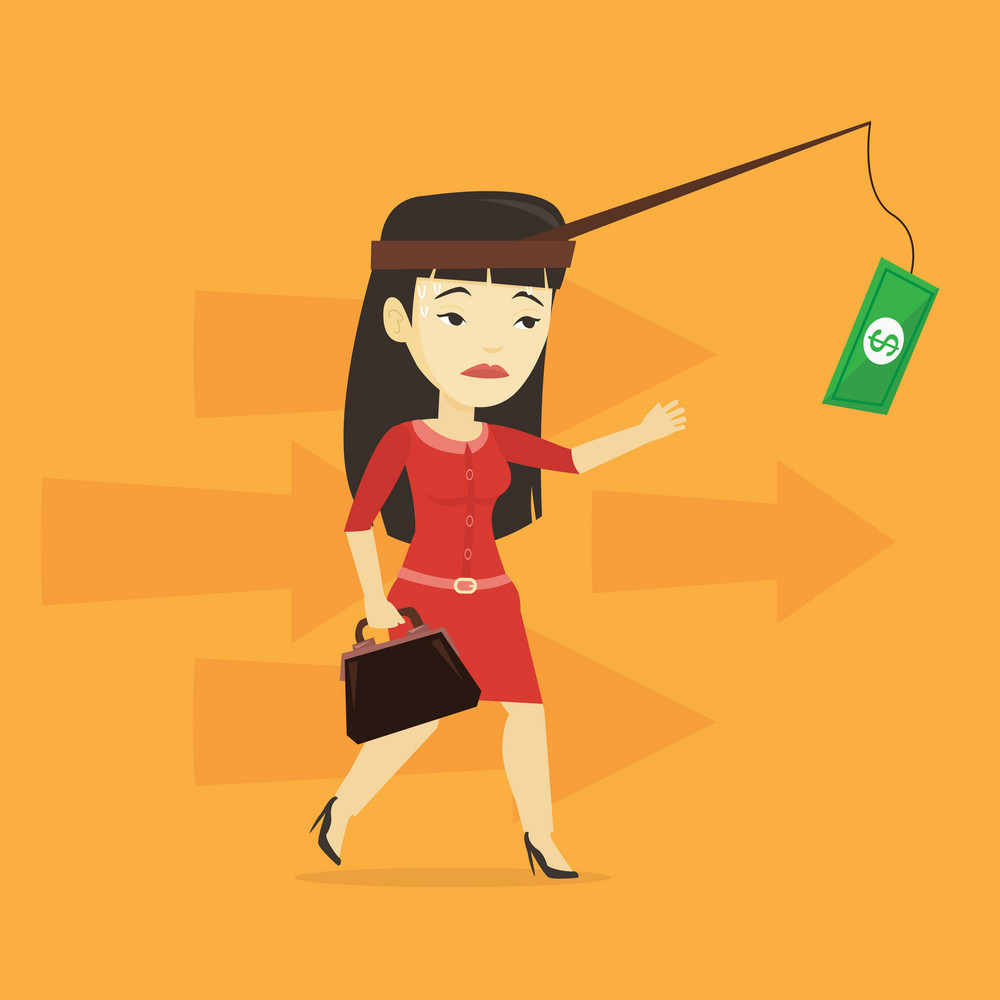 Money on fishing rod as motivation for business woman. Asian business woman motivated by money hanging on fishing rod. Concept of business motivation. Vector flat design illustration. Square layout.
