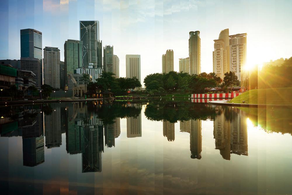 Montage of Kuala Lumpur city downtown night to day