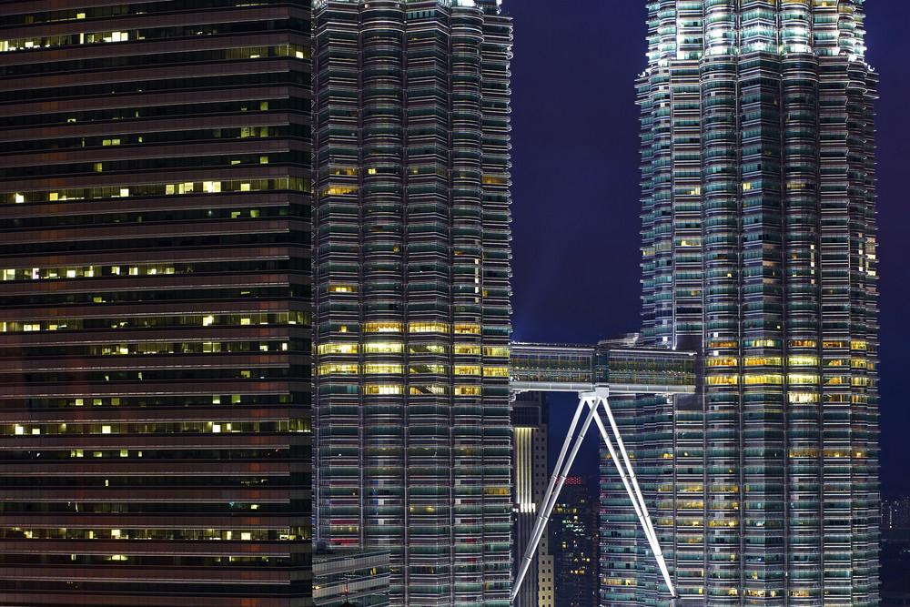 Morden building with skybridge
