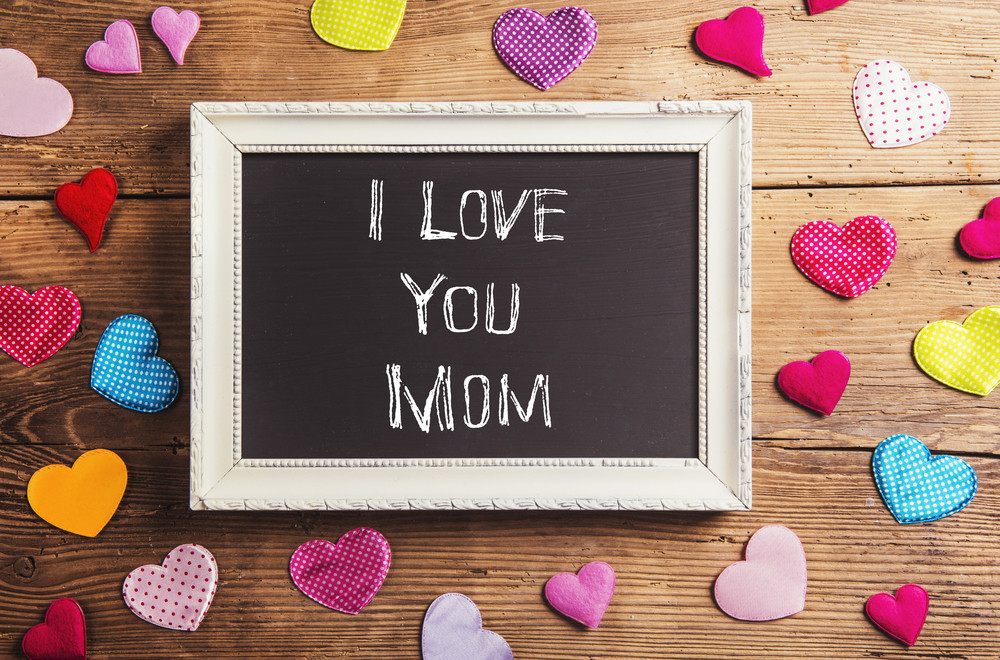 Mothers day composition. I love you sign in picture frame. Colorful ...