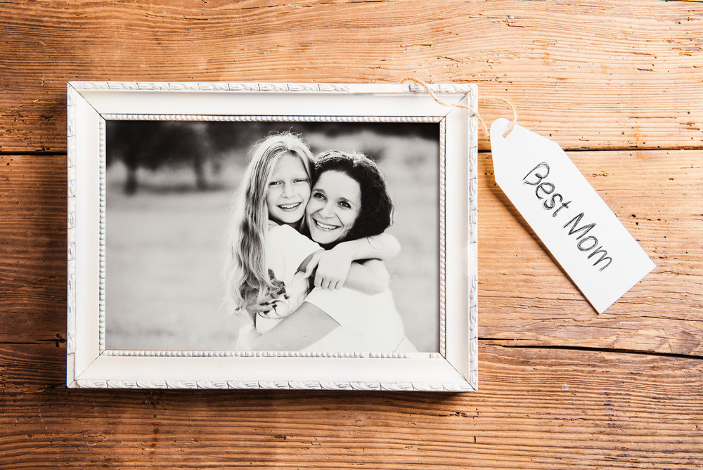 Mothers day composition. Photo of mother and daughter in picture ...