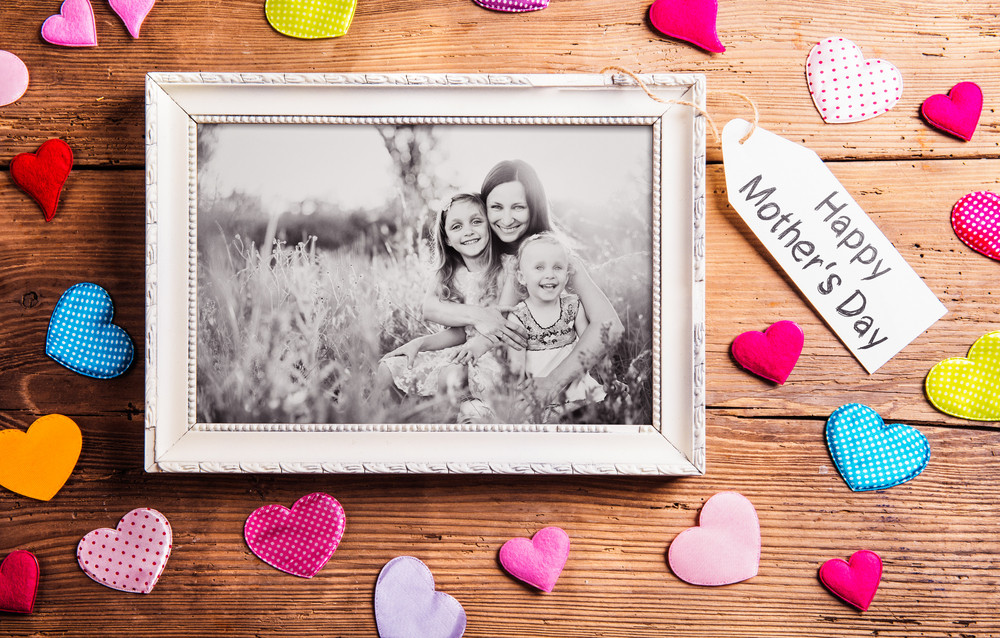Mothers day composition. Photo of mother with her daughters in ...