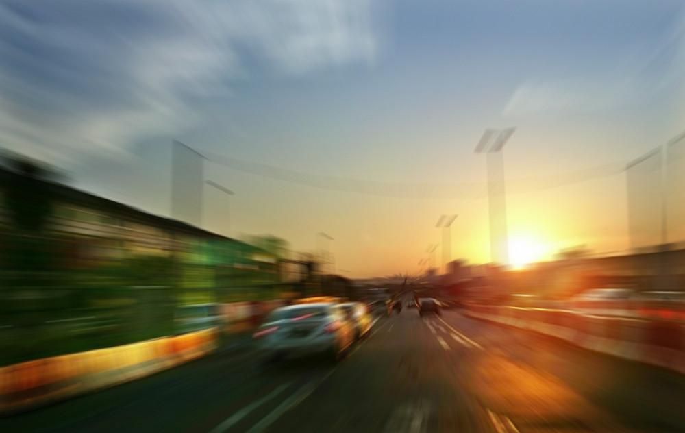 Motion blurred ,sunset  mood