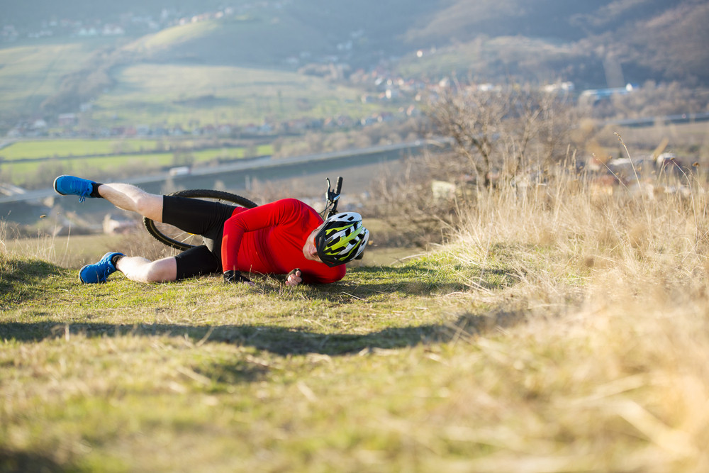 Mountain Biker has a painful looking crash with his bike