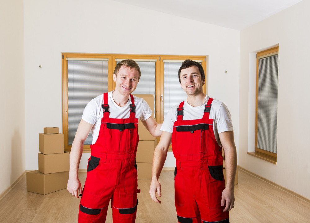 Movers in new house with lot of boxes behind them.
