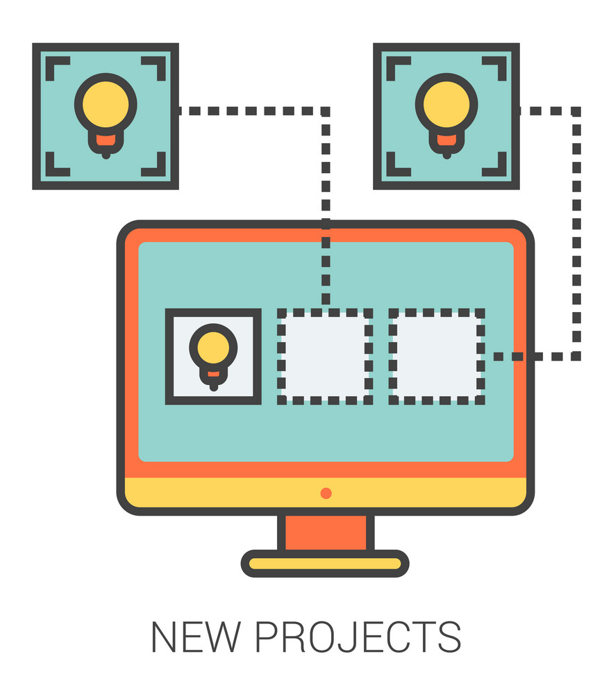 New projects infographic metaphor with line icons. New projects concept for website and infographics. Vector line art icon isolated on white background.