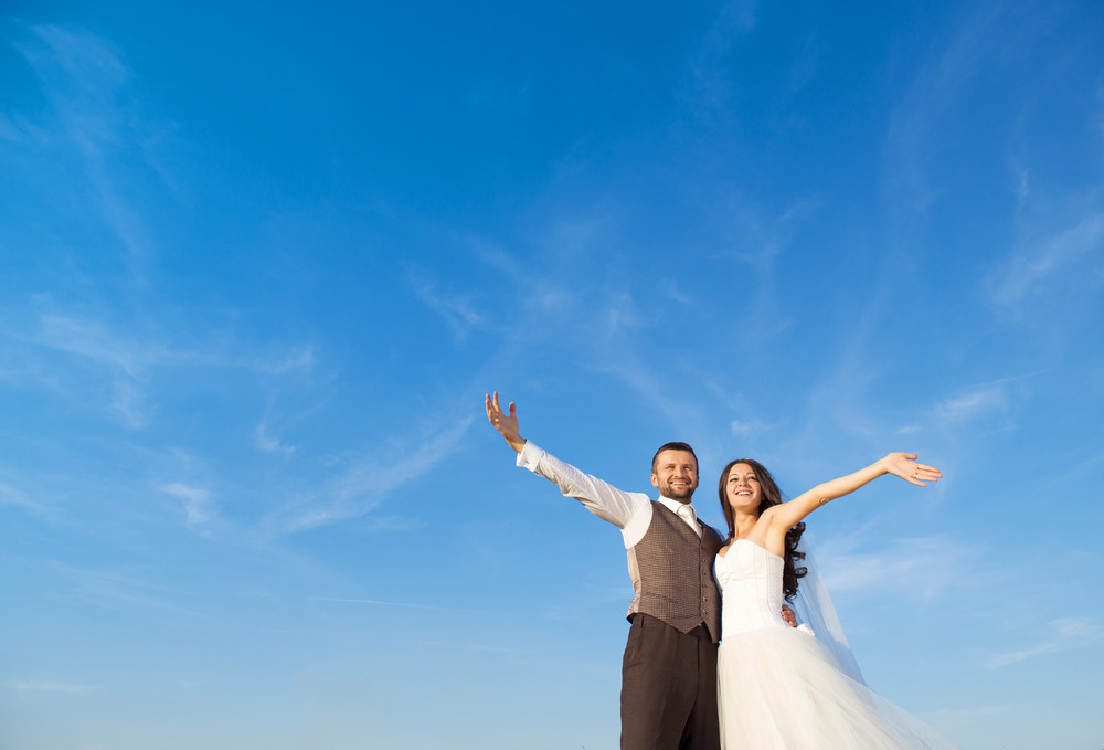 Newly married couple portrait with blue sky in summer field