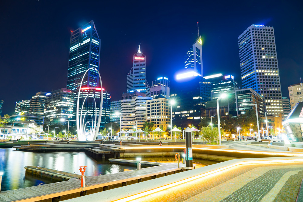 Office building background in Elizabeth Quay-Perth, London ,capital of Western Australia .