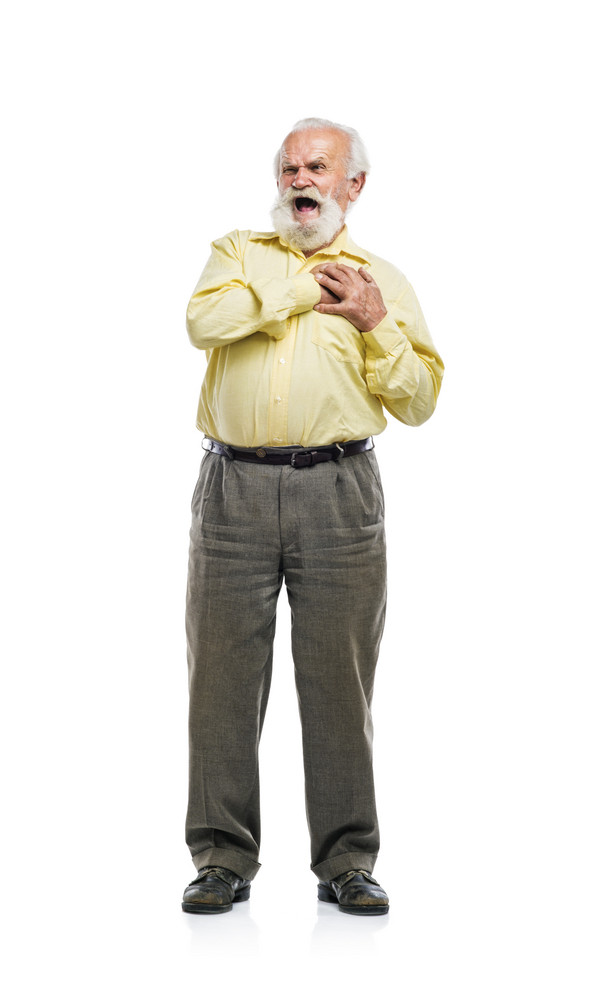 Old bearded man having chest pain isolated on white background