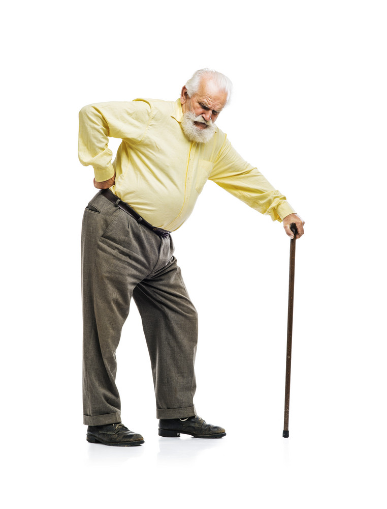 Old bearded man with cane suffering from back pain isolated on white background