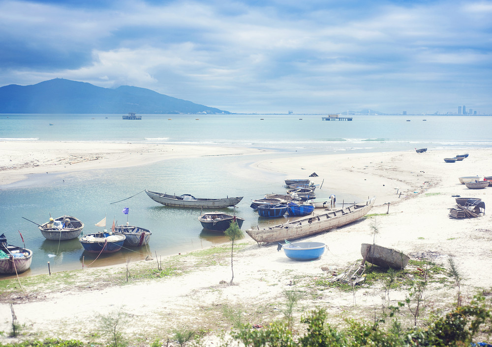 Old fisherman boats on a beautiful vietnamese beach