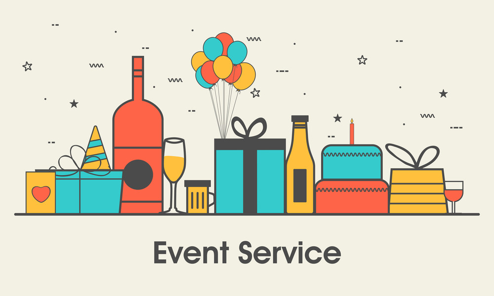 One page web design template with thin line icons of Special Event and Birthday Party Organization, Catering Service Agency. Flat design graphic Hero Image concept, Website Elements layout.