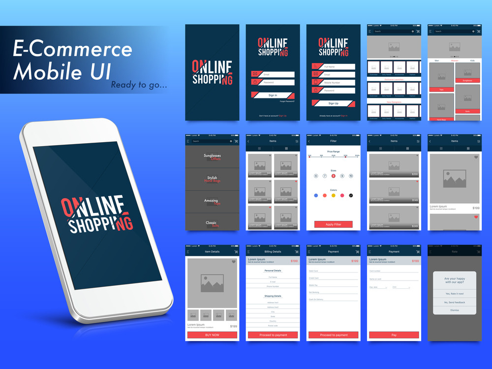 online shopping material design ui ux and gui template layout for e commerce and mobile apps including sign in sign up search items or products details