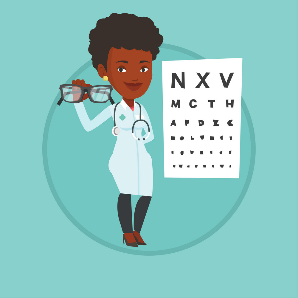 Ophthalmologist giving glasses. Ophthalmologist holding eyeglasses on the background of eye chart. Ophthalmologist offering glasses. Vector flat design illustration in circle isolated on background.