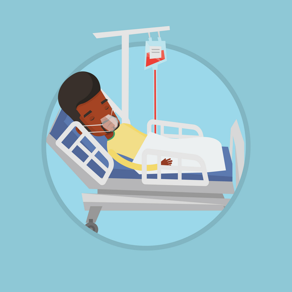 Patient lying in bed in hospital. Man resting in hospital bed with heart rate monitor. Patient during blood transfusion procedure. Vector flat design illustration in the circle isolated on background.