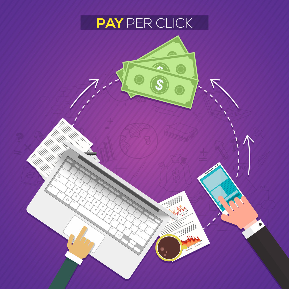 Pay per click, Online web marketing Business concept with illustration of people working on digital devices.