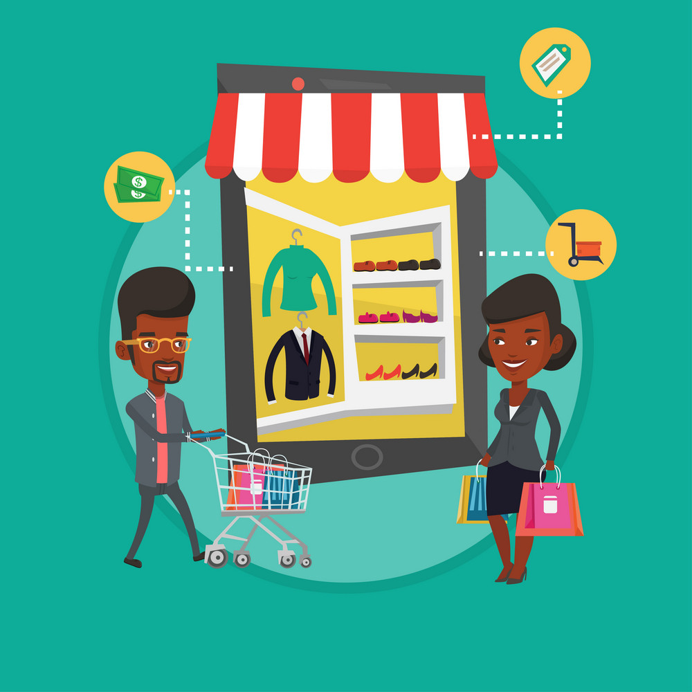 People doing online shopping. Man and woman using mobile shopping. People shopping in store that looks like tablet computer. Vector flat design illustration in the circle isolated on background.