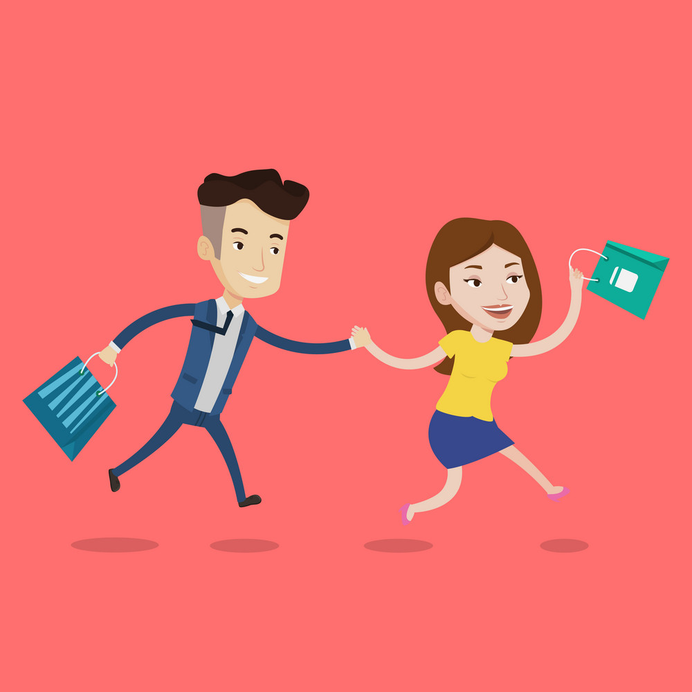 People rushing to shopping. Cheerful woman and man running in hurry to the store on sale. Young caucasian customers rushing to promotion and discount. Vector flat design illustration. Square layout.