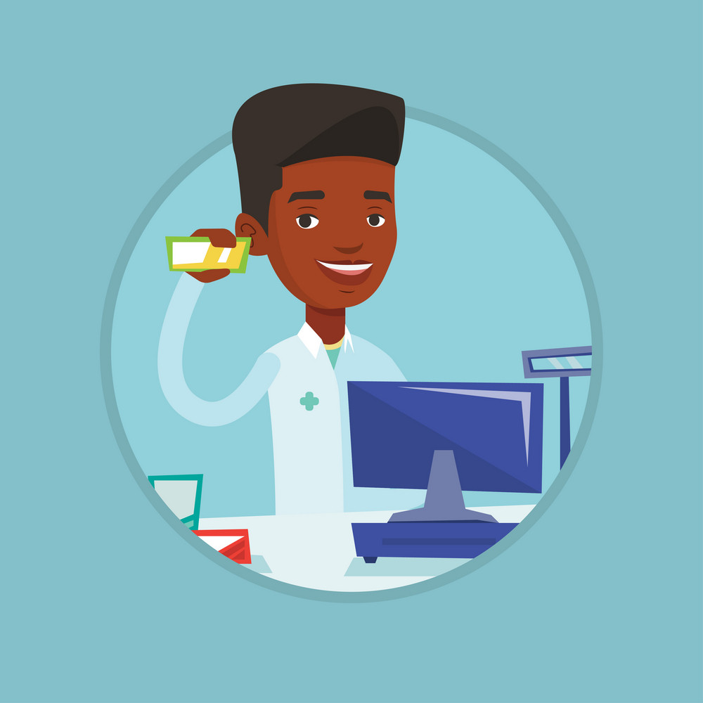 Pharmacist in medical gown standing at counter in pharmacy. Pharmacist showing some medicine. Pharmacist holding a box of pills. Vector flat design illustration in the circle isolated on background.
