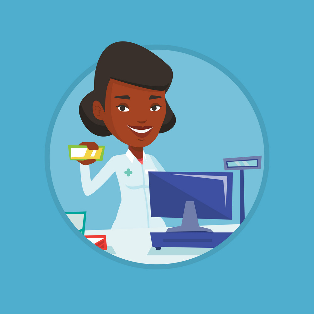 Pharmacist in medical gown standing at the counter in the pharmacy. Pharmacist showing medicine. Pharmacist holding a box of pills. Vector flat design illustration in the circle isolated on background