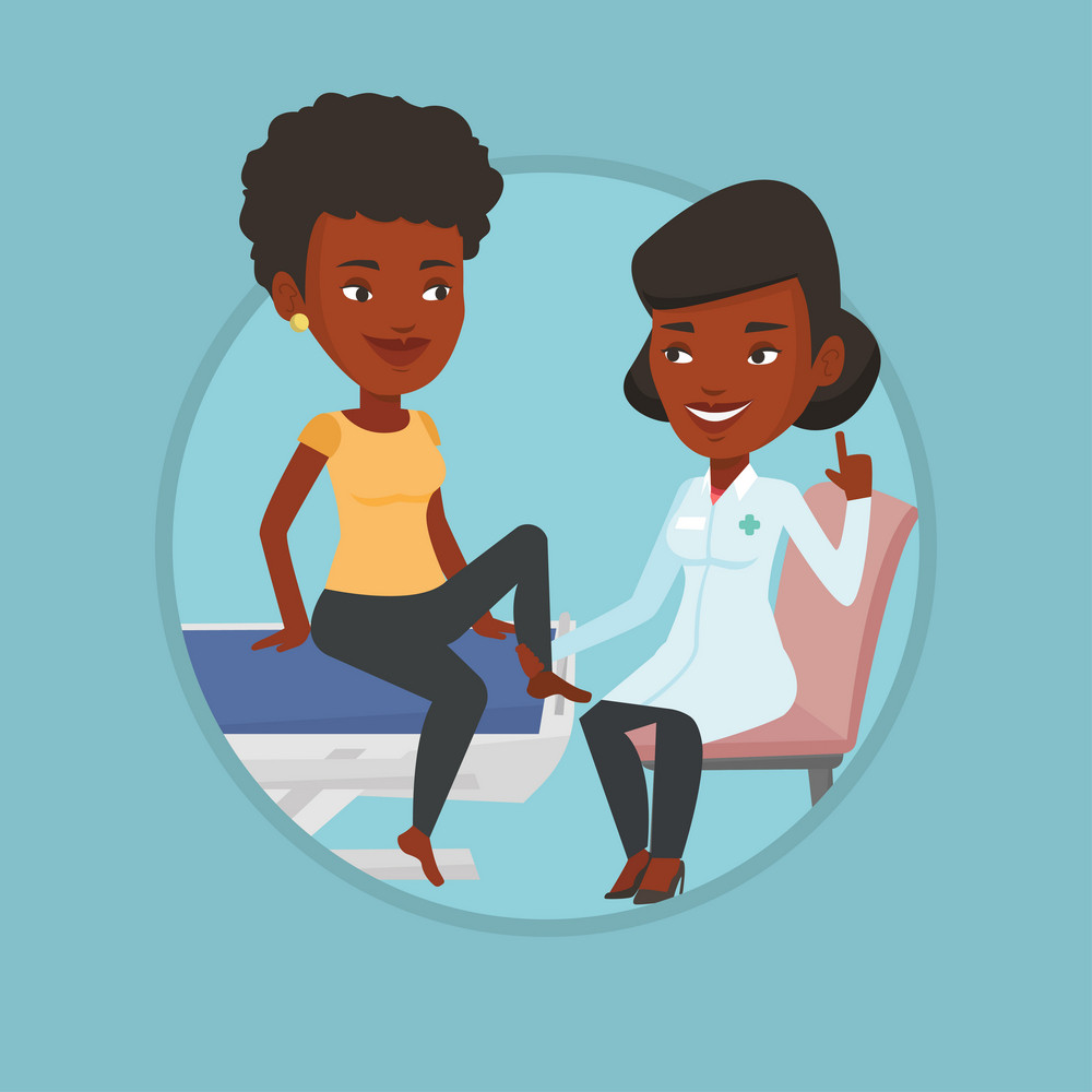 Physiotherapist checking ankle of woman. Physiotherapist examining leg of sportswoman. Physiotherapist giving leg massage to girl. Vector flat design illustration in the circle isolated on background.