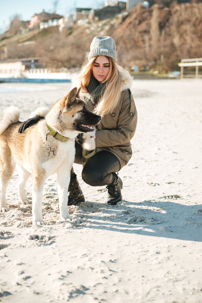Picture of beautiful young woman walks in winter beach with dog on a leash.