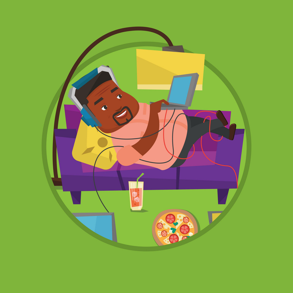 Plump man relaxing on sofa with many gadgets. Man lying on sofa surrounded by gadgets and fast food. Fat man using gadgets at home. Vector flat design illustration in the circle isolated on background