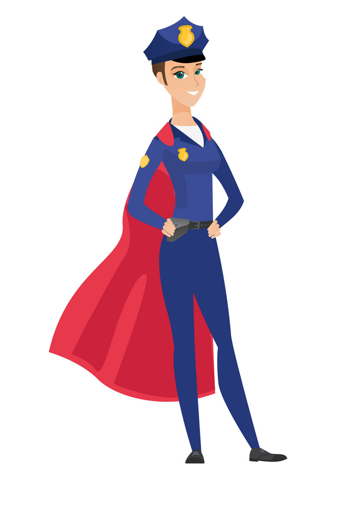 Police woman wearing red superhero cloak. Full length of police woman dressed as superhero. Powerful police woman superhero in red cloak. Vector flat design illustration isolated on white background.