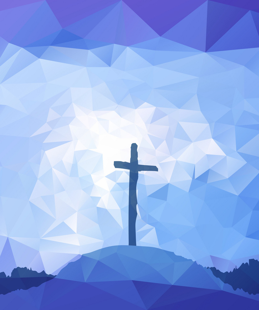 polygonal vector design hand drawn easter scene with cross jesus