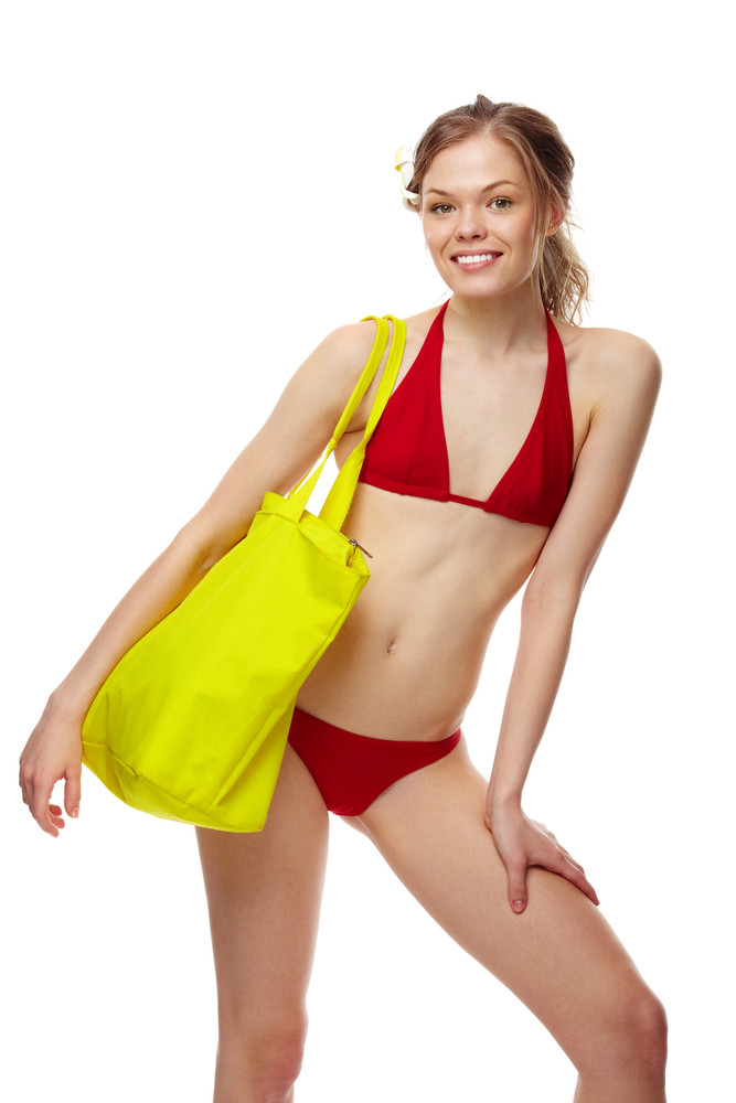 c7e5d0e587167 Portrait of a young girl posing in red bikini Royalty-Free Stock ...