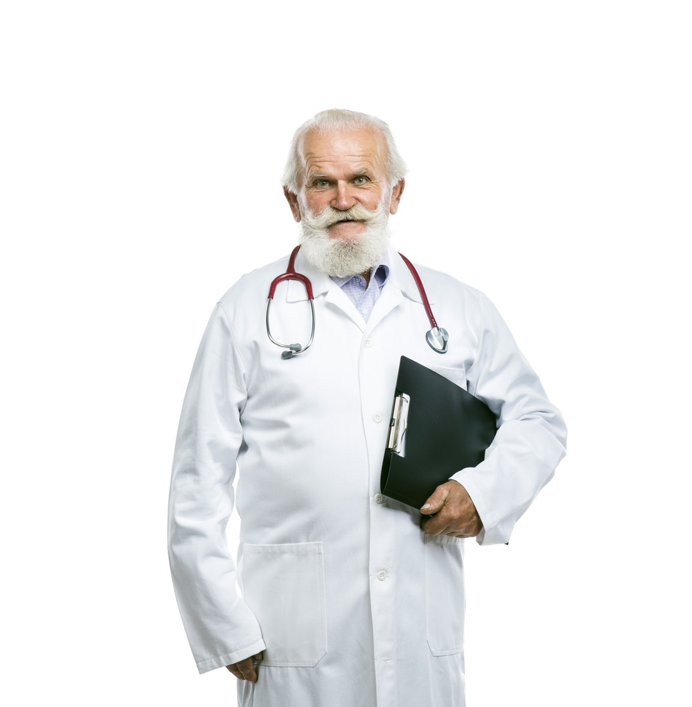 Portrait of an old male doctor with a stethoscope around his neck holding folder isolated on white background