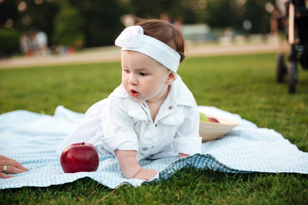 Portrait of cute little girl on picnic in park