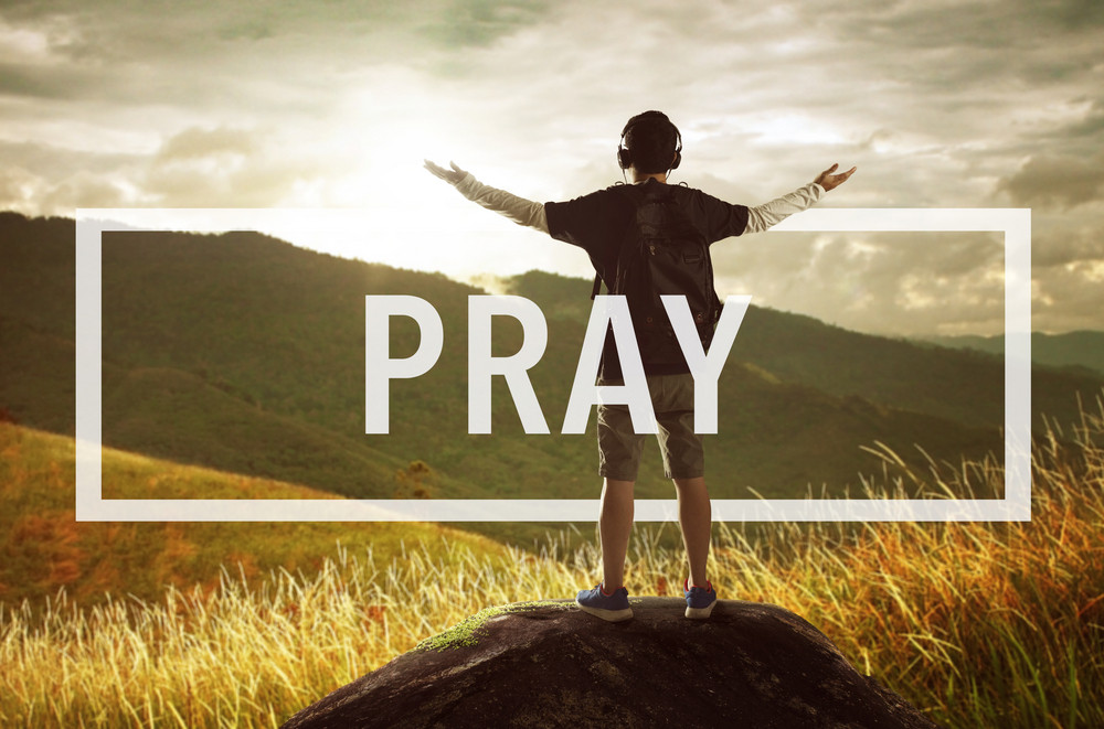 Pray Confession Faith Religion Thankfulness Concept
