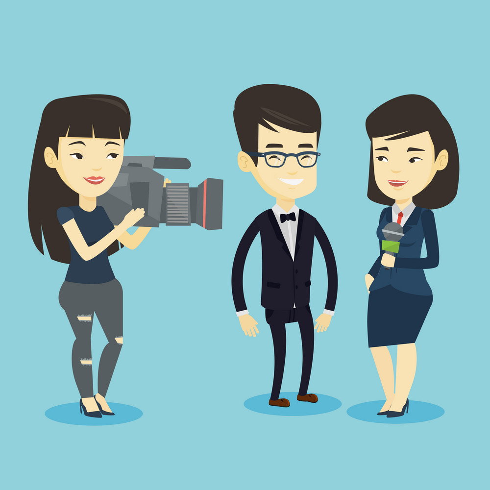 Professional asian reporter with microphone interviews a business man. Young operator filming interview. Journalist making interview with business man. Vector flat design illustration. Square layout.