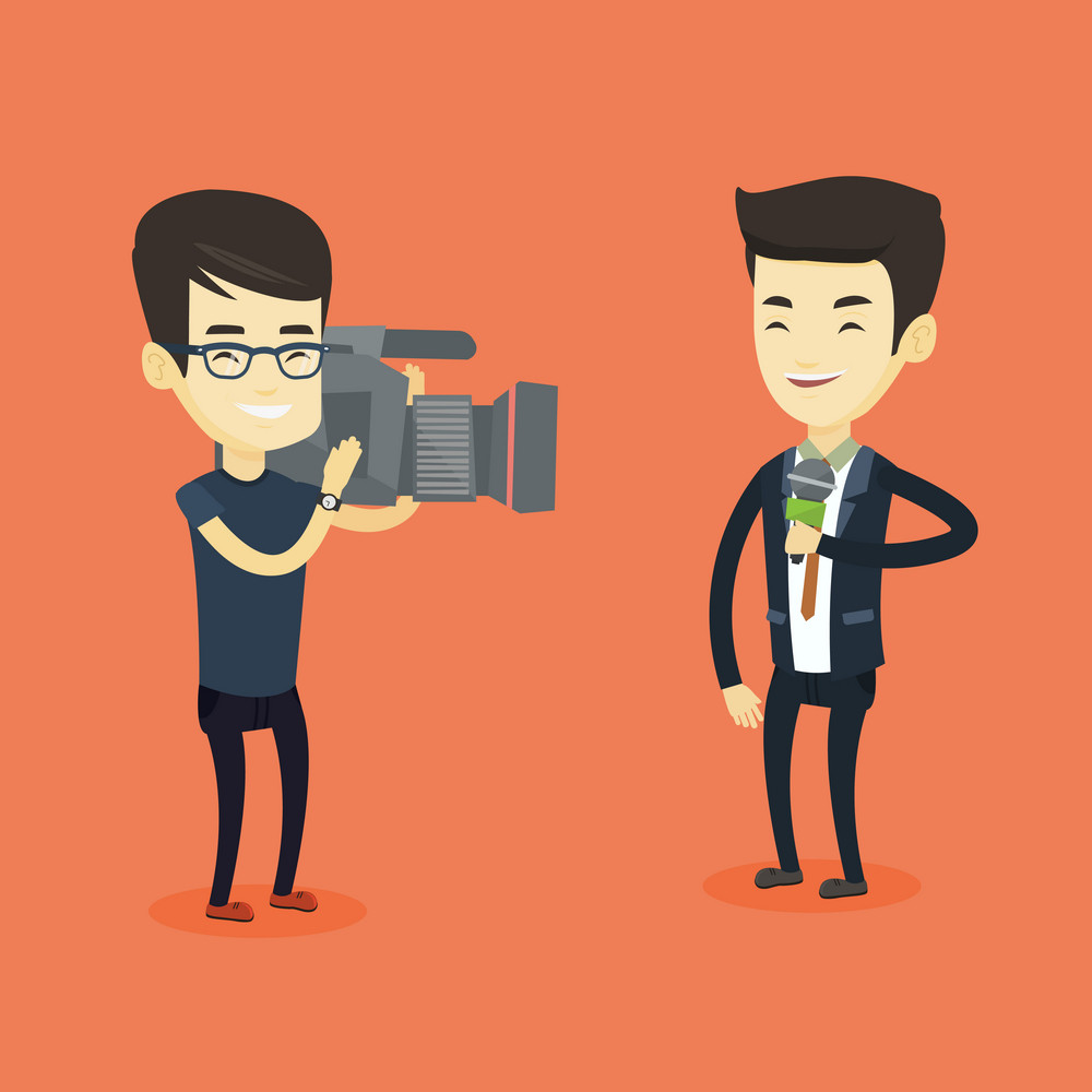 Professional asian reporter with microphone presenting the news. Young operator filming reporter. Reporter and operator recording the news. Vector flat design illustration. Square layout.