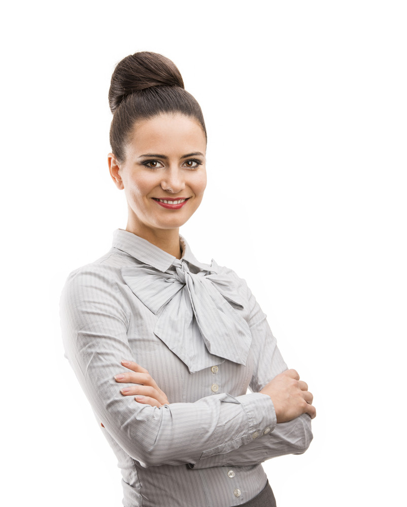 Professional business woman in modern shirt. Isolated over white background.