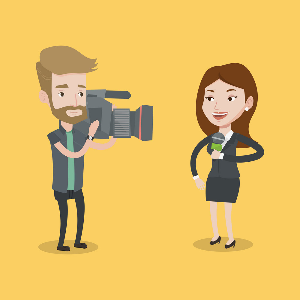 Professional caucasian female reporter with microphone presenting the news. Young hipster operator with the beard filming news correspondent. Vector flat design illustration. Square layout.