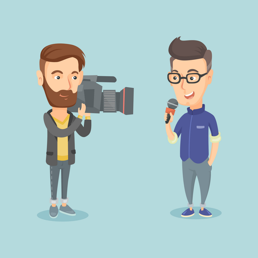 Professional caucasian male reporter with microphone presenting the news. Young operator filming reporter. Reporter and operator recording the news. Vector flat design illustration. Square layout.