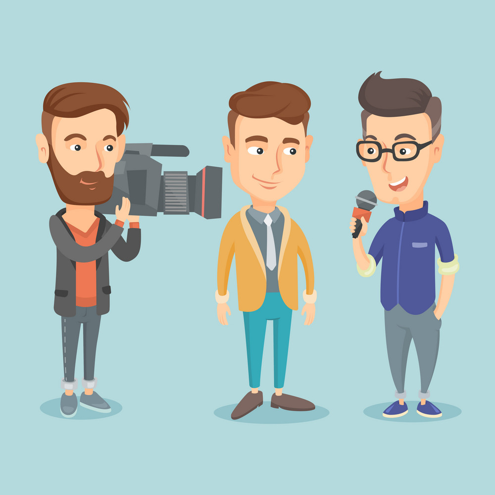 Professional caucasian reporter with microphone interviews a businessman. Operator filming an interview. Journalist making interview with businessman. Vector flat design illustration. Square layout.