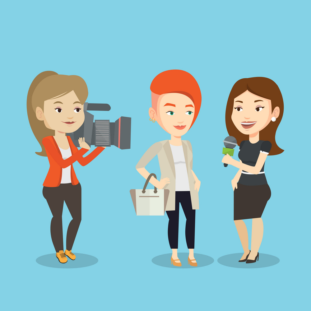 Professional caucasian reporter with microphone interviews a man. Female operator filming interview. Journalist making interview with businessman. Vector flat design illustration. Square layout.
