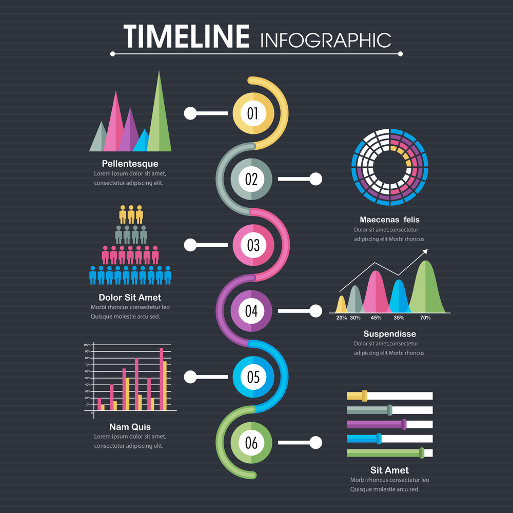 Professional Timeline Infographic Template With Statistical Graphs - Timeline infographic template