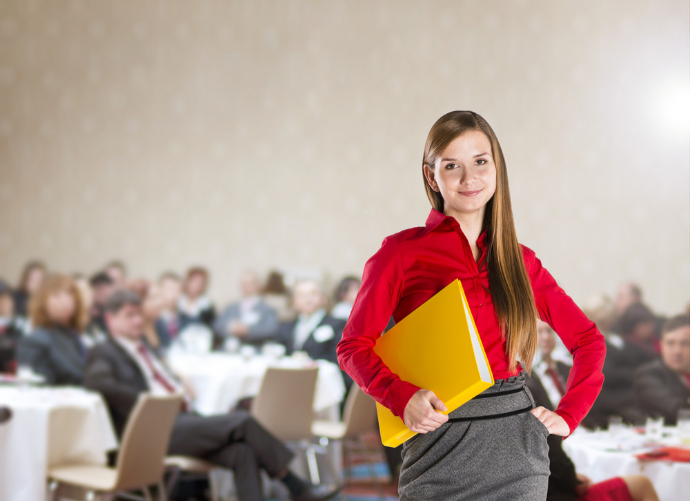 Public indoor business conference for modern managers.