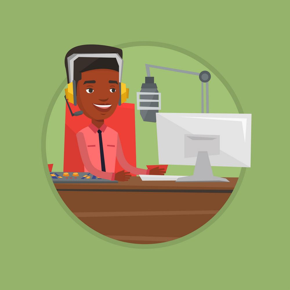 Radio dj working in front of microphone, computer and mixing console on radio. Radio dj in headset working on a radio station. Vector flat design illustration in the circle isolated on background.